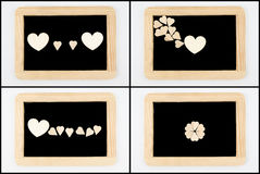 Tableaux de vintage avec le cadre en bois d'isolement sur le blanc Photographie stock libre de droits