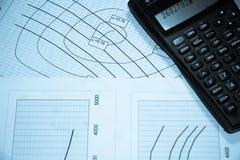Tableaux et calculatrice Image libre de droits