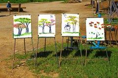 Tableaux peints par des éléphants, Thaïlande Images stock