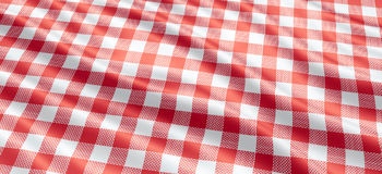 Tablecloth. Red and white checkered pattern tablecloth Royalty Free Stock Image
