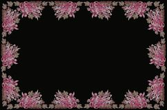 Tablecloth with aster on black backgrounds. Frame for embroidery tablecloth with purplish pink asters and leaves on black backgrounds Royalty Free Stock Photo
