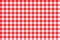 Tablecloth background red seamless pattern. Vector illustration of traditional gingham dining cloth with fabric texture. Checkered picnic cooking tablecloth Royalty Free Stock Image