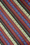 Tablecloth background with simple embroidery stitch. Cross stitch embroidery on canvas. Tribal handmade woven cotton fabrics stock photography