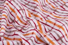 Tablecloth background. Striped tablecloth texture as a background, closeup picture Royalty Free Stock Photos