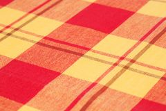 Tablecloth background. Striped tablecloth texture as a background, closeup picture Stock Photos