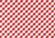 Tablecloth background, texture. Classic linen red and white checked tablecloth texture with copy space Royalty Free Stock Photography