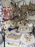 Tablecloth and bags made from tapestry Royalty Free Stock Photos