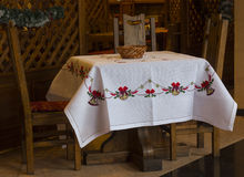 Tablecloth bordado Imagem de Stock Royalty Free