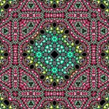 Tablecloth, carpet with mandala and ornamental border on floral background, effect colorful fractal, rug or tapis. Tablecloth, carpet with mandala and ornamental