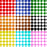 Tablecloth checks pattern collection multicolor. Tablecloth collection red blue green orange brown black yellow turquoise pink Royalty Free Stock Images