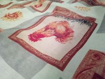 Tablecloth, chicken. It is a tablecloth with chicken Stock Photo