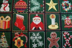 Tablecloth with Christmas decorations Stock Image