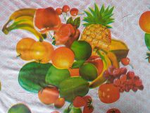 Tablecloth design. Mixed fruits design Royalty Free Stock Photography