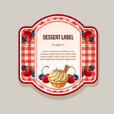 Tablecloth dessert label Royalty Free Stock Image