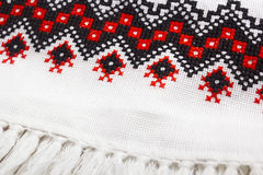 Tablecloth embroidered in the Ukrainian style Royalty Free Stock Images