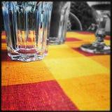 tablecloth för tabell för kaviarmatställepannkakor Royaltyfri Bild