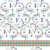 Tablecloth with flowers made. Tablecloth with purple flowers craft Royalty Free Stock Images