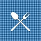 Tablecloth green spoon Royalty Free Stock Images