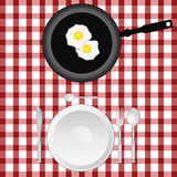 Tablecloth illustration with egg and plate Royalty Free Stock Image