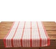 Tablecloth lub ręcznik nad drewnianym stołem zdjęcia royalty free