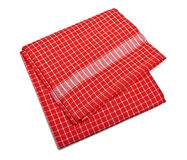 Tablecloth made of linen with red stripes for the dish Stock Image
