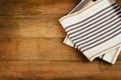 Tablecloth on  a old wooden  background Royalty Free Stock Photography