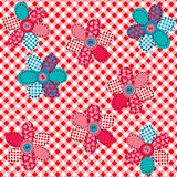 Tablecloth with  patches and buttons Stock Photo