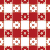 Tablecloth Pattern. A classic flower and plaid tablecloth pattern in red and white repeats seamlessly Royalty Free Stock Image