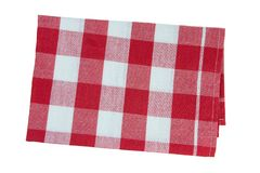 Tablecloth red white checkered. Isolated on white background. Concept picnic Royalty Free Stock Photography
