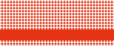 Tablecloth red and white with stripe. Wide red and white checkered tablecloth background with red stripe for text royalty free illustration