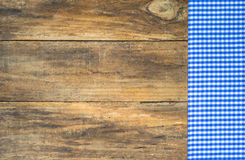 Tablecloth rustic blue on wooden table. Table cloth blue checkered on rustic wood background with copy space Royalty Free Stock Photos