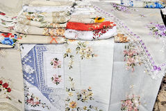 Tablecloth stand. The stand of tableclothes embroideried Stock Photos
