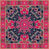 Tablecloth with stylized red flower - mandala. Royalty Free Stock Photos