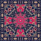 Tablecloth with stylized red flower - mandala. Headscarf. Bandana print Royalty Free Stock Photos