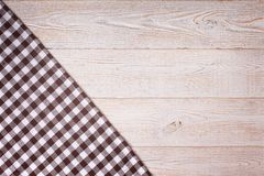 Tablecloth tartan on white wooden table. Flat mock Royalty Free Stock Photos