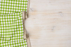 Tablecloth textile on bleached wooden background royalty free stock image