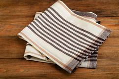Tablecloth textile on  old wooden  background Royalty Free Stock Photo