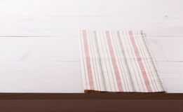 Tablecloth textile on white wooden background Stock Images