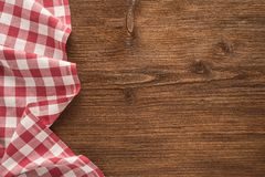 Tablecloth textile. On wooden background Royalty Free Stock Photography
