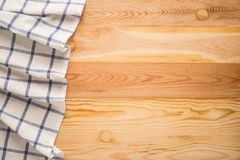 Tablecloth textile. On wooden background Stock Images