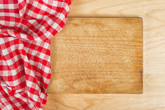 Tablecloth textile on wooden background Royalty Free Stock Photo