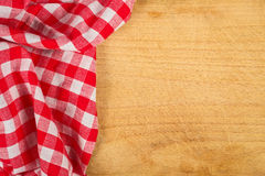 Tablecloth textile on wooden background Royalty Free Stock Images