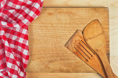 Tablecloth textile on wooden background Royalty Free Stock Photos