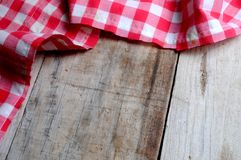 Tablecloth textile on wooden background Stock Photo