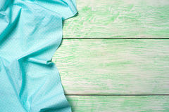 Tablecloth textile on wooden Royalty Free Stock Photography