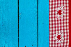 Tablecloth texture on  wooden blue background Royalty Free Stock Images