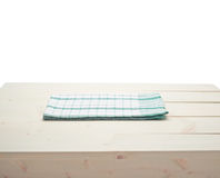 Tablecloth or towel over the wooden table Royalty Free Stock Photo