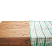 Tablecloth or towel over the wooden table. Green tablecloth or towel over the surface of a brown wooden table, composition isolated over the white background Royalty Free Stock Image