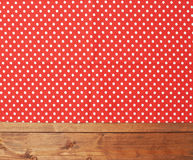 Tablecloth or towel over the wooden table Royalty Free Stock Photography