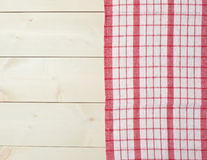 Tablecloth or towel over the wooden table Stock Images
